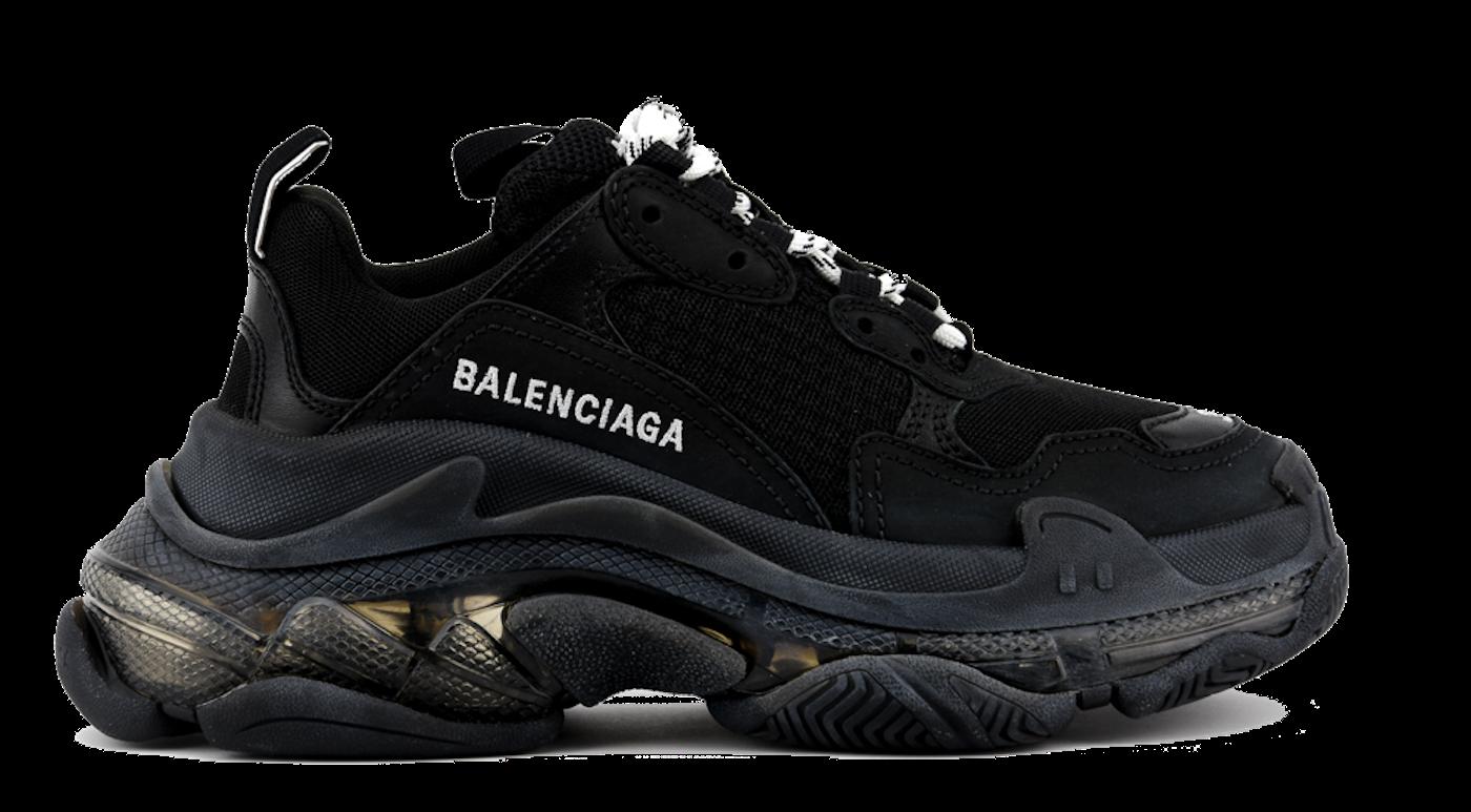 BALENCIAGA TRIPLE S BLACK CLEAR SOLE Paul warmer